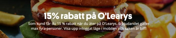 15 rabatt olearys svenskaspel
