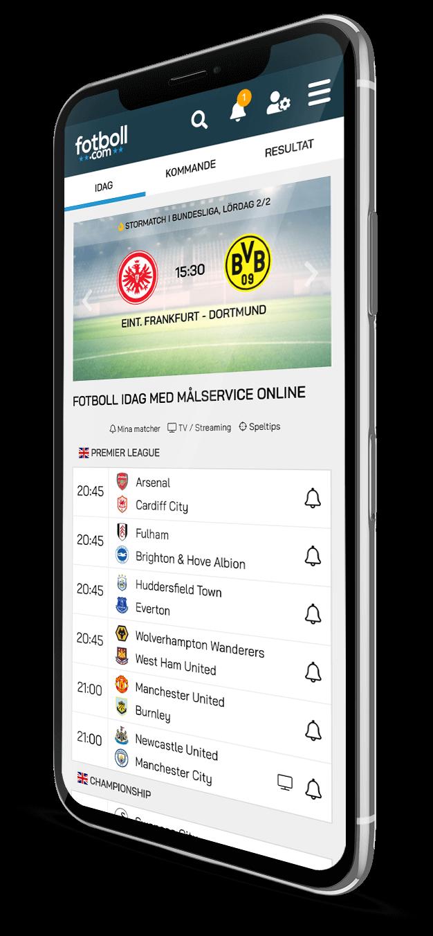 Fotboll.com i en mobil